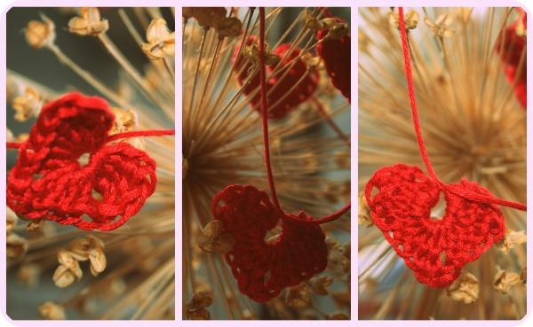 red crochet heart bunting