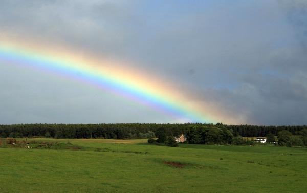 rainbow - scottish highland cottage